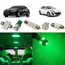 7x Green LED lights interior package kit for 2010-2013 Mazda 3 MT3G