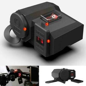 12V Waterproof Motorcycle USB Charging Holder 2USB Port&Cigarette Lighter Socket