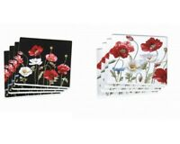New 4pc Poppies Flowers Coaster Set Drink Coasters Ceremic Chinaware Gift 4''