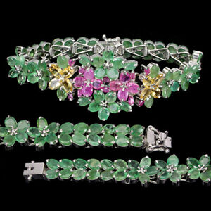 Unheated Oval Emerald 6x4mm Citrine Ruby 925 Sterling Silver Bracelet 7 Inches