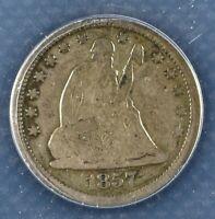 1857 ANACS 25C Silver Seated Liberty Quarter F 12
