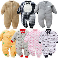 Toddler Infant Kid Baby Girl&Boy Fleece Cartoon Jumpsuit Playsuit Romper Clothes