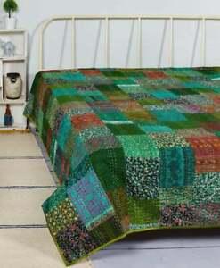 Indian silk Beautiful Kantha Patchwork Bedspread Quilt Bedding Bedspread Throw