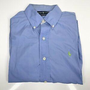 Men's Ralph Lauren Large Blue Shirt Collar Custom Fit Designer (1358 D8)
