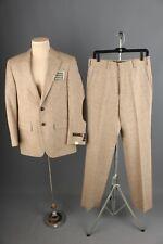 Vtg Men's Nos 1970s Tweed Suit Sz M Jacket 38 Pants 31 70s Leisure Elbow Patches