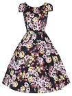 Ladies 1950s Vtg Cotton Black Tulip Floral Print Party Prom Tea Dress New 8 - 18