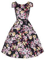Ladies 1950s Vtg Cotton Black Tulip Floral Print Party Prom Tea Dress New 8 - 18