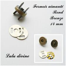 5 Fermoirs aimanté, Pression pour sac, Fermoir pour sac de 14 mm Rond Bronze