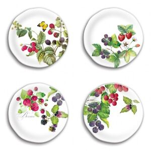 "Set / 4 Michel Design Works Melamine 8"" Accent Salad Dessert Plate Berry Patch"