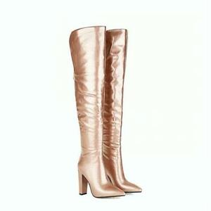 Occident Lady Over The Knee High Thigh Boots Pointy Toe Block Heel Shoes Party L