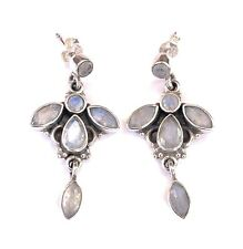Sterling Silver Rainbow Moonstone Chandlier Drop Earrings - UK, 925, 9.5gms,