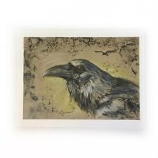 Raven Crow Wildlife Bird Art Print Of Pastel Painting Listed By Artist American