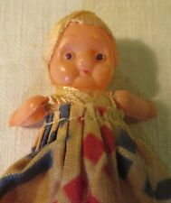 "Vintage Celluloid Kewpie Doll 2 1/2"" Tall Marked Japan Fabric Dress Oldie"