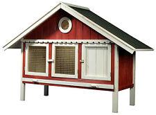 Großer Kaninchenstall Schwedenrot-weiß Kleintierstall Nagerstall XL Hasenstall