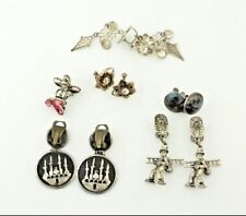 VINTAGE COLLECTION OF EUROPEAN MADE EARRINGS 5 PIECES TOTAL IN SILVER