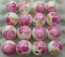 Free Shipping 20pcs Big pink flower Round Ceramic bead Spacer beads 12mm DF62