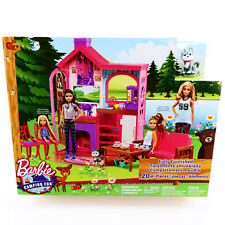 Barbie Furniture Playset Cabin Camping Fun Fully Furnished 20+Pc Mattel Toys 3 4