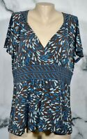 APT. 9 Brown Teal Cyan Patterned Top XL Short Sleeves Contrast Waistband Unlined