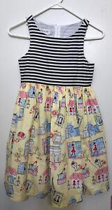 Girls Bonnie Jean Size 10 Sleeveless  Dress Yellow Black Striped Boutique Scenes
