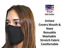 Black Face Mask Cloth Reusable & Washable Face Cover FAST FREE Shipping USA