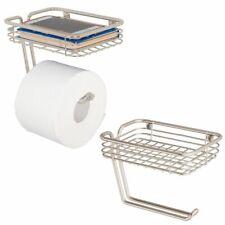 mDesign Metal Wall Mount Toilet Tissue Paper Holder/Storage Shelf, 2 Pack, Satin