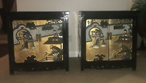 Pair Of Antique Chines Hand Painted Gold Flake Cabinet ,Birds of Paradise Poeple