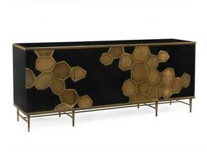 "84"" W Amara Sideboard Gold Honeycomb Doors Inset Solid Black Glass Gold Framing"