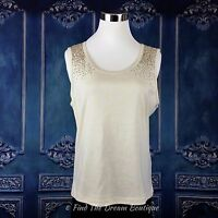 Collection by Harve Benard Tank Top Womens M Sleeveless Ivory Embellished Sequin