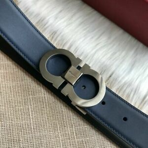 Genuine men's Salvatore Ferragamo blue leather 3.5cm small blue belt