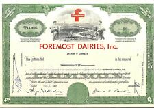 Stock certificate Foremost Dairies, Inc. 1962