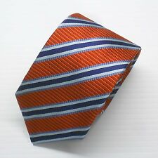 NWT Battisti Napoli Tie Red Orange with Navy and Blue Stripes Made in Italy