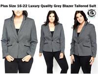 LADIES CURVE PLUS SIZE 14-26 BLACK GREY BLAZER TAILORED SUIT COAT JACKET FORMAL