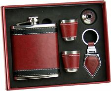 7oz Leather Wrap Stainless Steel Liquor Flask, Funnel, Key Chain & 2 Shot Cup