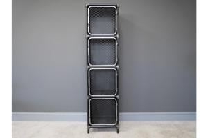 Slim Metal Four Compartment Pipe Frame Mesh Door Storage Cabinet