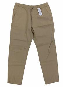 NEW Lacoste Linen Blend Croc Brown Pants Trousers Elastic Waist Mens HH4701 NWT