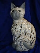 """SIAMESE Cat Figurine / 16"""" Statue ~ Resin/Plaster with Glass Mosaic Decoration"""