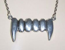 Large SILVER Steel Pewter VAMPIRE FANGS PENDANT NECKLACE ~ Goth/Gothic Vamp