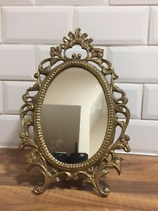 Decorative Vintage Solid Brass Dressing Table Mirror with Easel Back Stand 14""