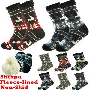 Mens Deer Thick Sherpa Fleece Lined Cozy Fuzzy Knit Non-Skid Slipper Socks LOT