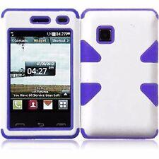 For TracFone LG 840g IMPACT TUFF HYBRID Case Skin Phone Cover White Purple