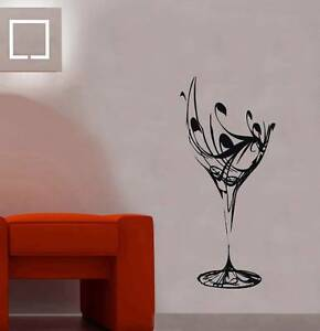 WINE GLASS Decal Vinyl WALL STICKER Art Home Decor Stencil Silhouette SST001