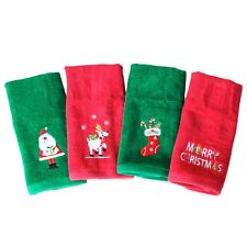 4pc Embroidered Christmas Fingertip Towels Red/Green 11x18 Bed Bath Beyond NEW