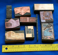 10 Antique Letterpress LOT Block Printer Advertising Cameo Leather VTG Wood #3