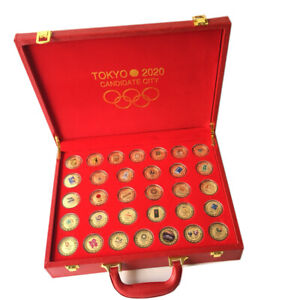 32 Pcs Olympic Games Previous Olympics Emblem Gold Coins With Box