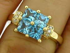R091 Genuine 9ct Solid Yellow Gold NATURAL Topaz & Diamond Square Ring size Q