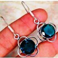 Tsavorite Quartz & 925 Silver Handmade Beautiful drop Earrings 42mm G82-34271