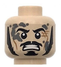 Lego New Minifig Head Dual Sided LotR Bard Long Black Sideburns Moustache
