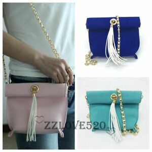 New Women's Handbag Candy Shoulder Bag Tassel Bag Crossbody with Pearl Chain