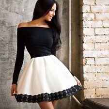 Women Ladies Off Shoulder Party Dress Slim Bodycon Lace Short Tutu Dress S-XL