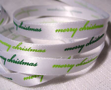 RUBAN SATIN MOTIFS de NOËL ** 10 mm ** Merry Christmas Joyeux Noël Vert / mètre